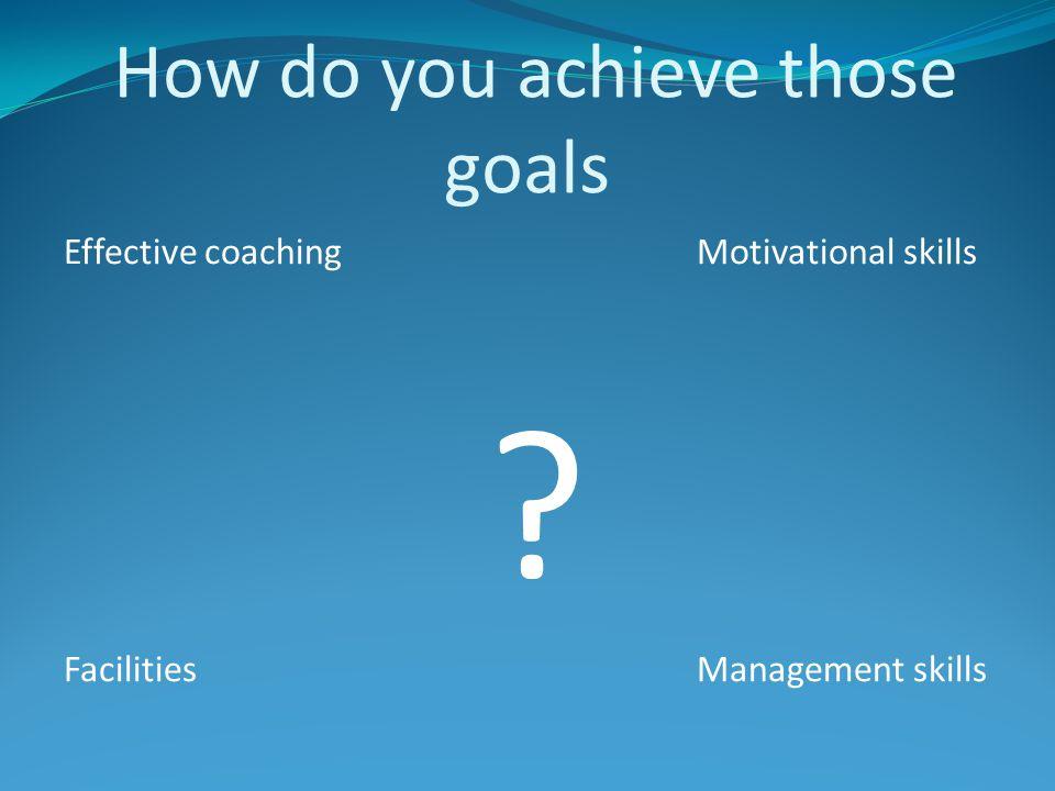 How do you achieve those goals Effective coachingMotivational skills ? FacilitiesManagement skills