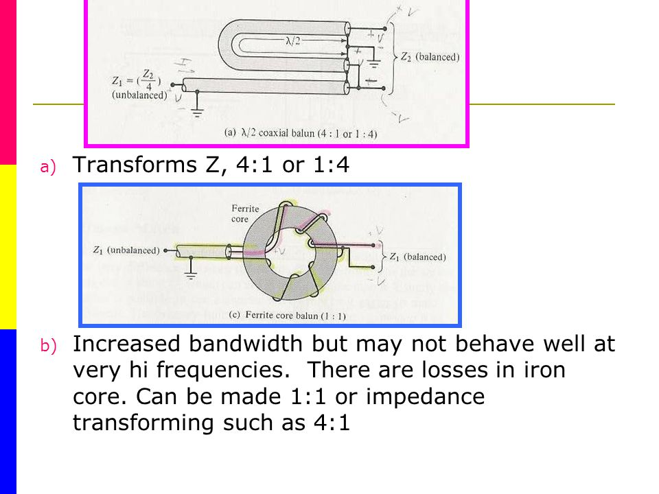 a) Transforms Z, 4:1 or 1:4 b) Increased bandwidth but may not behave well at very hi frequencies.