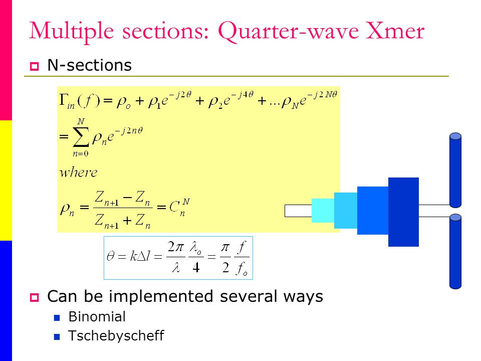 Multiple sections: Quarter-wave Xmer N-sections Can be implemented several ways Binomial Tschebyscheff