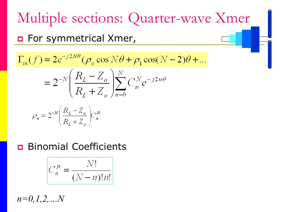 Multiple sections: Quarter-wave Xmer For symmetrical Xmer, Binomial Coefficients n=0,1,2,…N