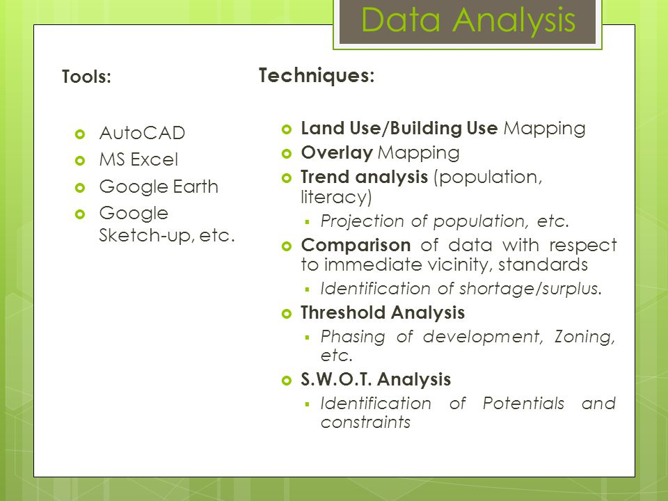 Data Analysis Techniques: Land Use/Building Use Mapping Overlay Mapping Trend analysis (population, literacy) Projection of population, etc. Compariso