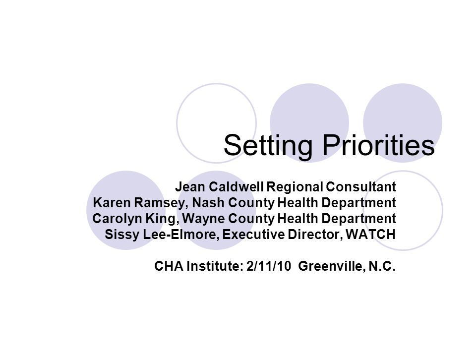 Setting Priorities Jean Caldwell Regional Consultant Karen Ramsey, Nash County Health Department Carolyn King, Wayne County Health Department Sissy Le