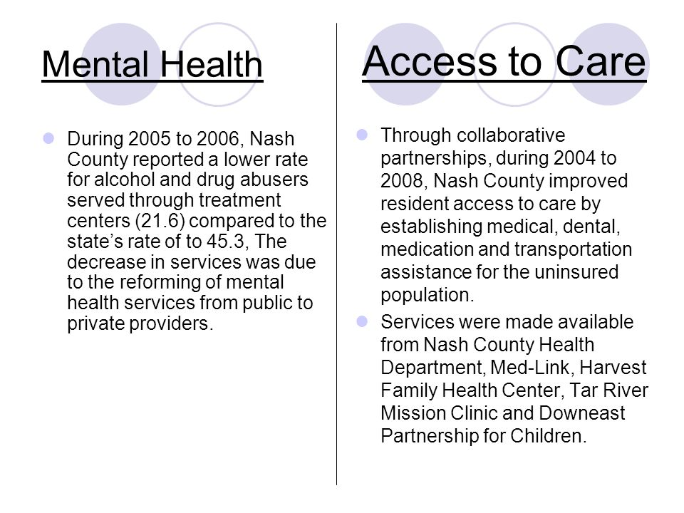 Mental Health During 2005 to 2006, Nash County reported a lower rate for alcohol and drug abusers served through treatment centers (21.6) compared to