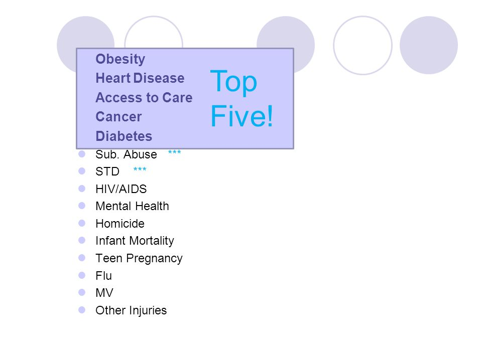 Obesity Heart Disease Access to Care Cancer Diabetes Sub. Abuse *** STD *** HIV/AIDS Mental Health Homicide Infant Mortality Teen Pregnancy Flu MV Oth