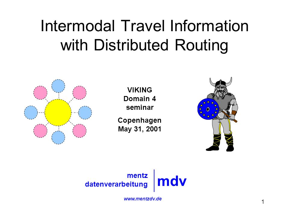 1 Intermodal Travel Information with Distributed Routing mdv mentz datenverarbeitung VIKING Domain 4 seminar Copenhagen May 31, 2001 www.mentzdv.de
