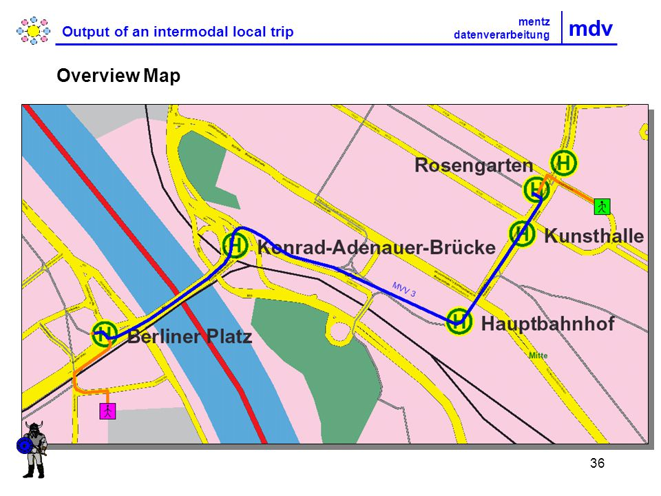 36 mdv Output of an intermodal local trip mentz datenverarbeitung Overview Map