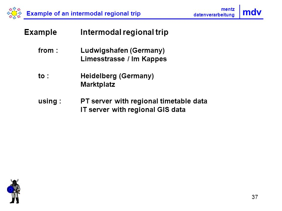 37 mdv Example of an intermodal regional trip Example Intermodal regional trip from : Ludwigshafen (Germany) Limesstrasse / Im Kappes to :Heidelberg (Germany) Marktplatz using :PT server with regional timetable data IT server with regional GIS data mentz datenverarbeitung