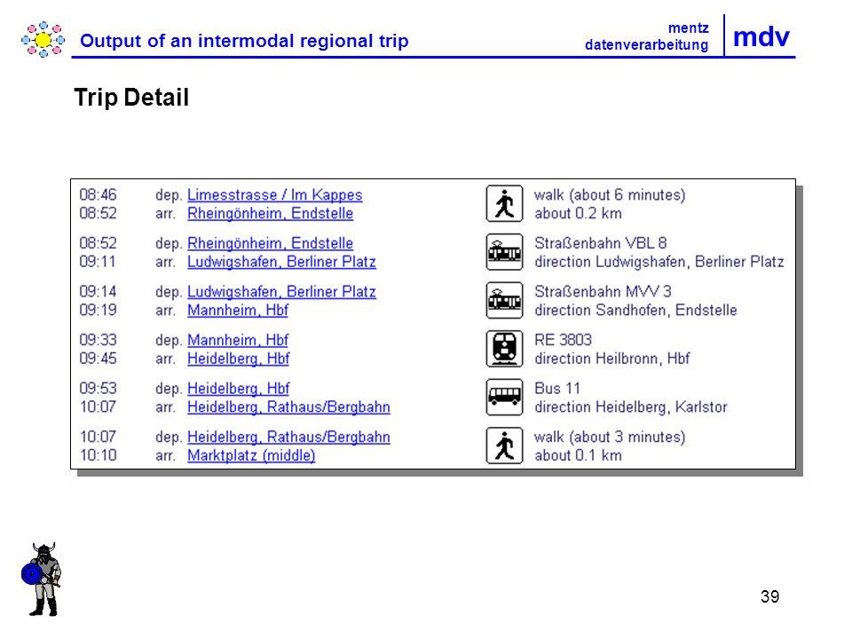 39 mdv Output of an intermodal regional trip Trip Detail mentz datenverarbeitung