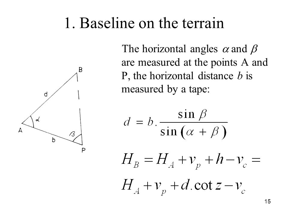 1. Baseline on the terrain The horizontal angles and are measured at the points A and P, the horizontal distance b is measured by a tape: 15