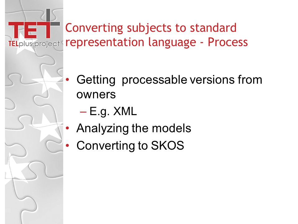 Converting subjects to standard representation language - Process Getting processable versions from owners –E.g.