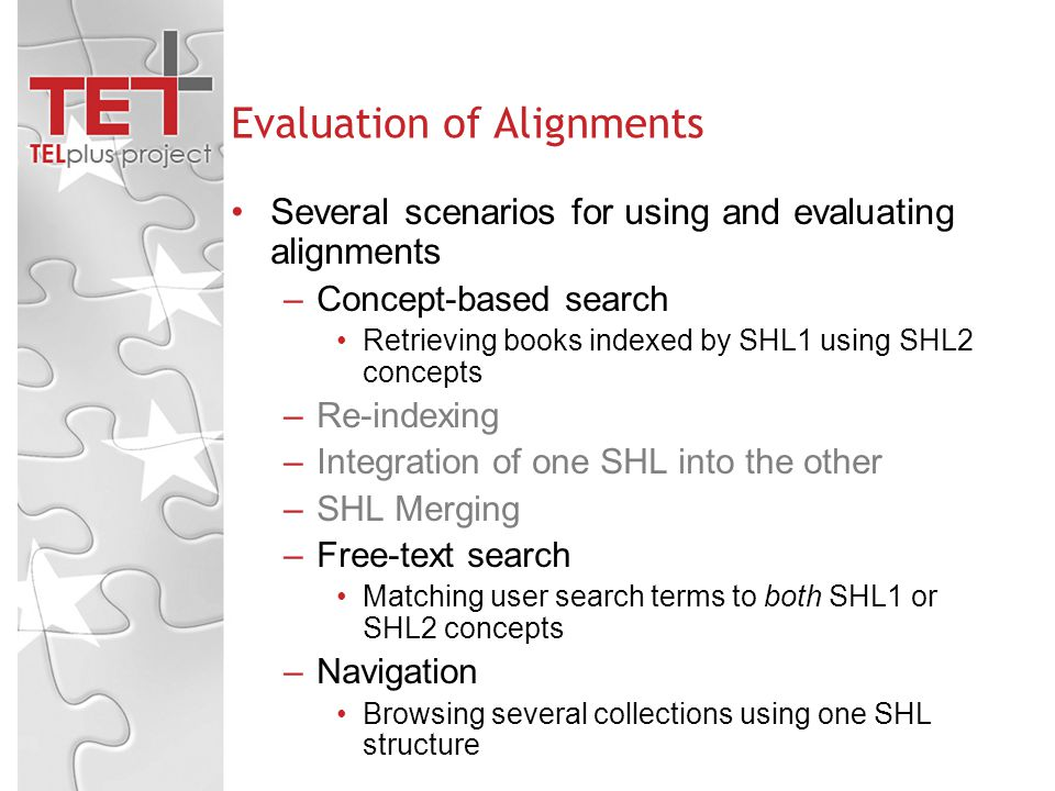 Evaluation of Alignments Several scenarios for using and evaluating alignments –Concept-based search Retrieving books indexed by SHL1 using SHL2 concepts –Re-indexing –Integration of one SHL into the other –SHL Merging –Free-text search Matching user search terms to both SHL1 or SHL2 concepts –Navigation Browsing several collections using one SHL structure