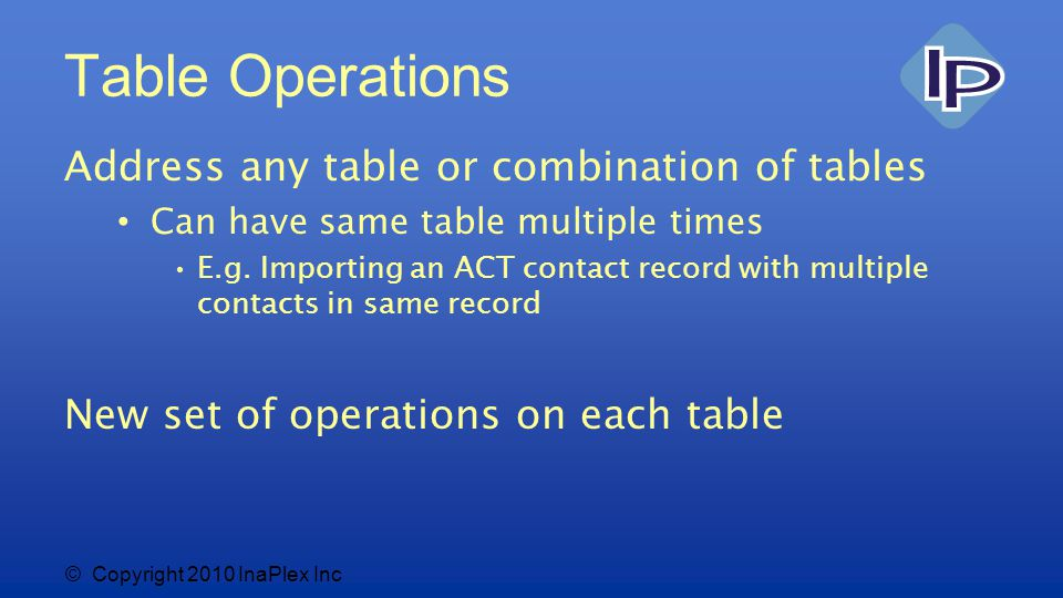 © Copyright 2010 InaPlex Inc Table Operations Address any table or combination of tables Can have same table multiple times E.g.