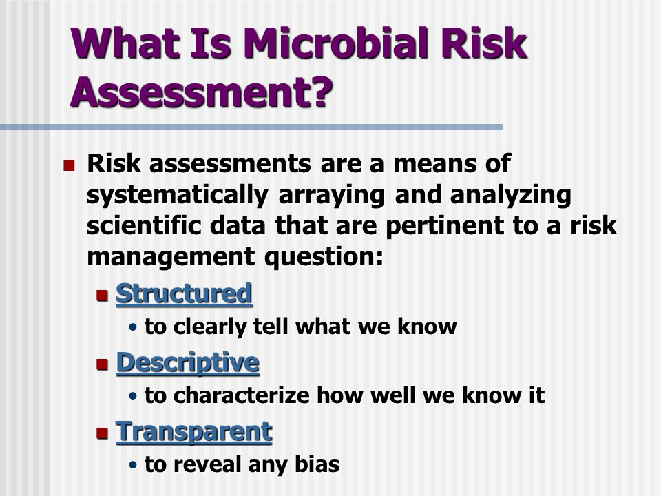 What Is Microbial Risk Assessment.