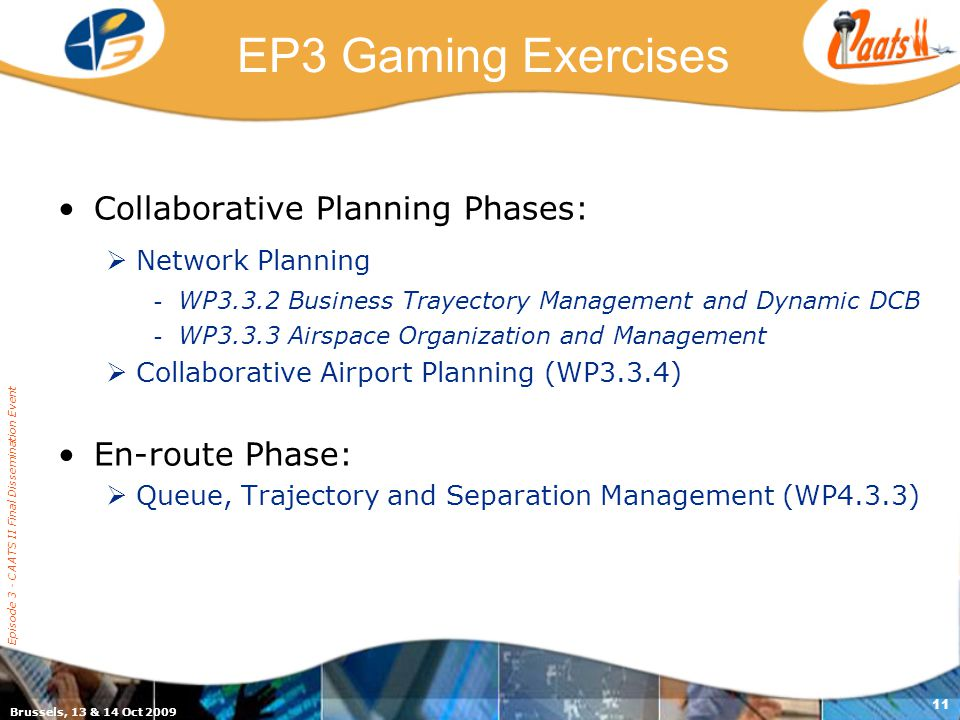 EP3 Gaming Exercises Collaborative Planning Phases: Network Planning - WP3.3.2 Business Trayectory Management and Dynamic DCB - WP3.3.3 Airspace Organization and Management Collaborative Airport Planning (WP3.3.4) En-route Phase: Queue, Trajectory and Separation Management (WP4.3.3) Brussels, 13 & 14 Oct 2009 Episode 3 - CAATS II Final Dissemination Event 11