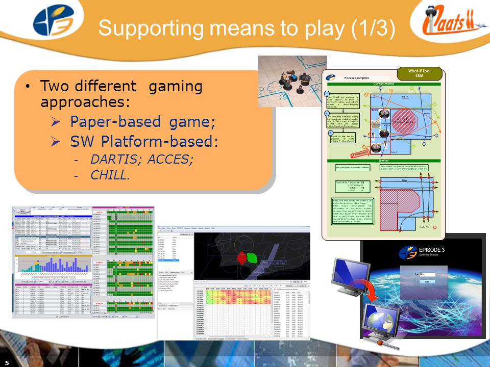5 Supporting means to play (1/3) Two different gaming approaches: Paper-based game; SW Platform-based: - DARTIS; ACCES; - CHILL.