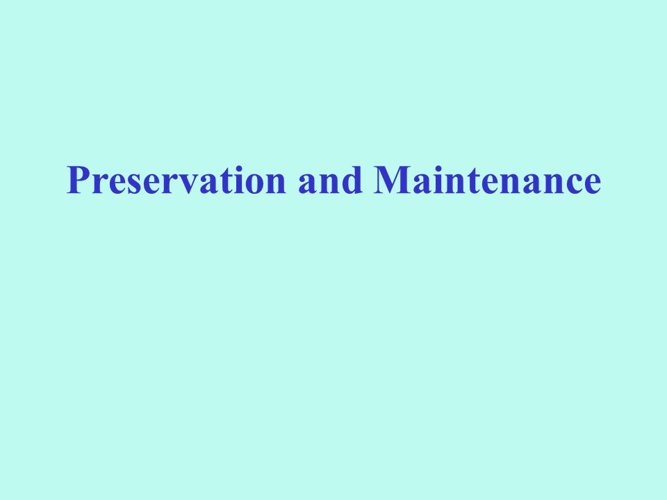 Preservation and Maintenance
