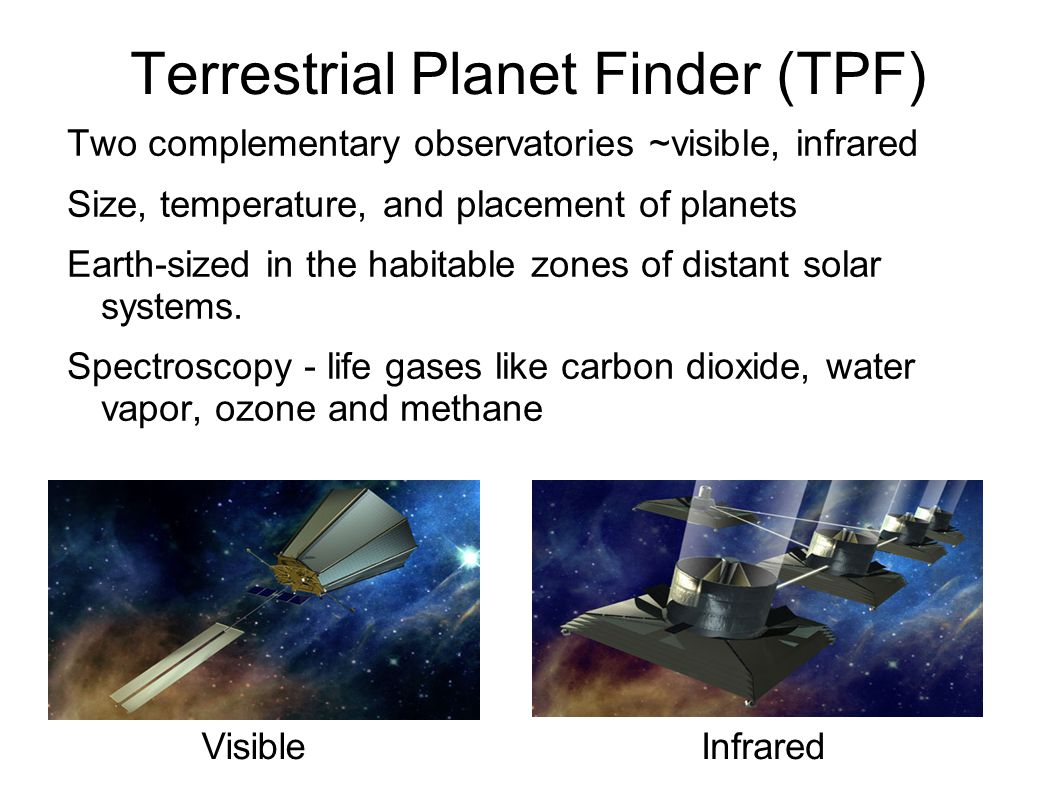 Terrestrial Planet Finder (TPF) Two complementary observatories ~visible, infrared Size, temperature, and placement of planets Earth-sized in the habitable zones of distant solar systems.