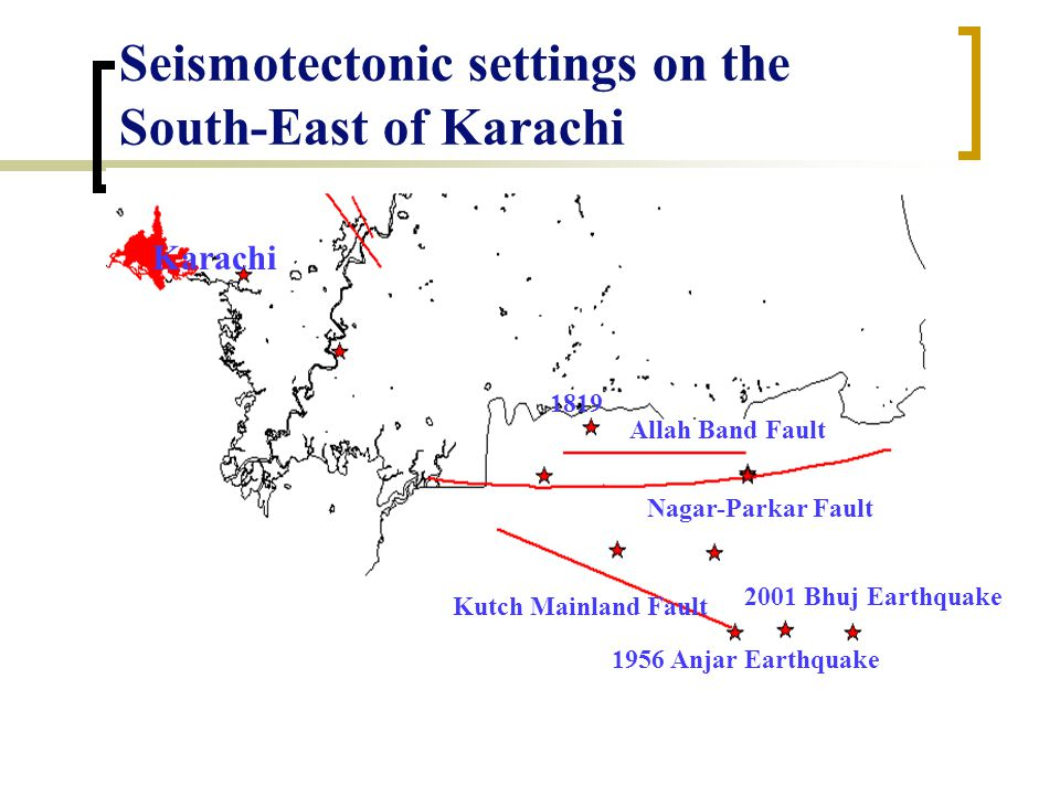 Active and Probable Active Faults on the West of Karachi Ornach-Nal Fault The Pab Fault The Sonmiani Fault