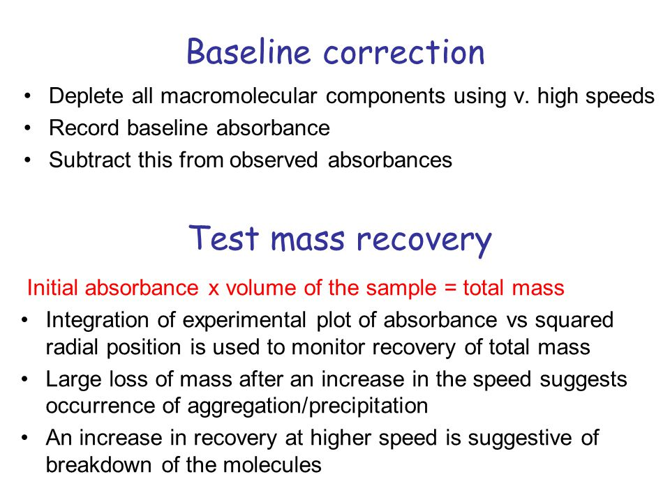 Baseline correction Deplete all macromolecular components using v.