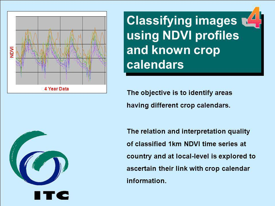 Classifying images using NDVI profiles and known crop calendars The objective is to identify areas having different crop calendars.