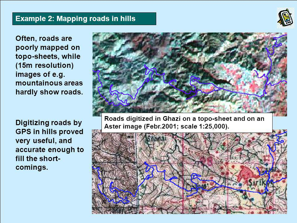 Often, roads are poorly mapped on topo-sheets, while (15m resolution) images of e.g.