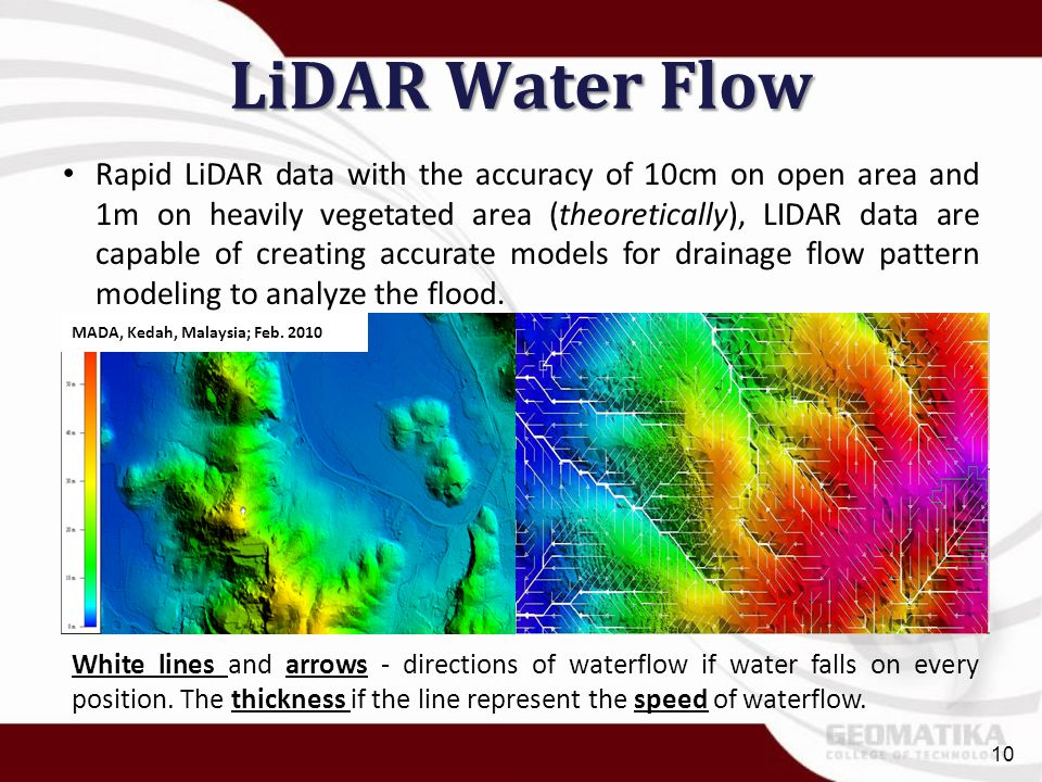 LiDAR Water Flow Rapid LiDAR data with the accuracy of 10cm on open area and 1m on heavily vegetated area (theoretically), LIDAR data are capable of c