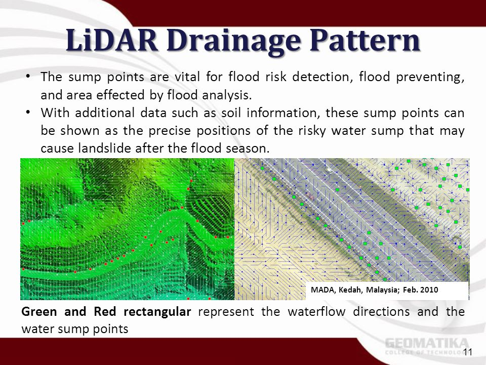 LiDAR Drainage Pattern The sump points are vital for flood risk detection, flood preventing, and area effected by flood analysis. With additional data