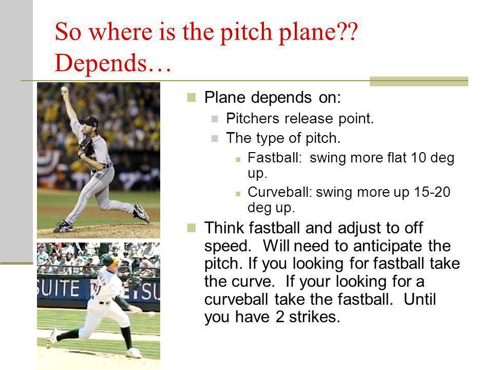 So where is the pitch plane?? Depends… Plane depends on: Pitchers release point. The type of pitch. Fastball: swing more flat 10 deg up. Curveball: sw