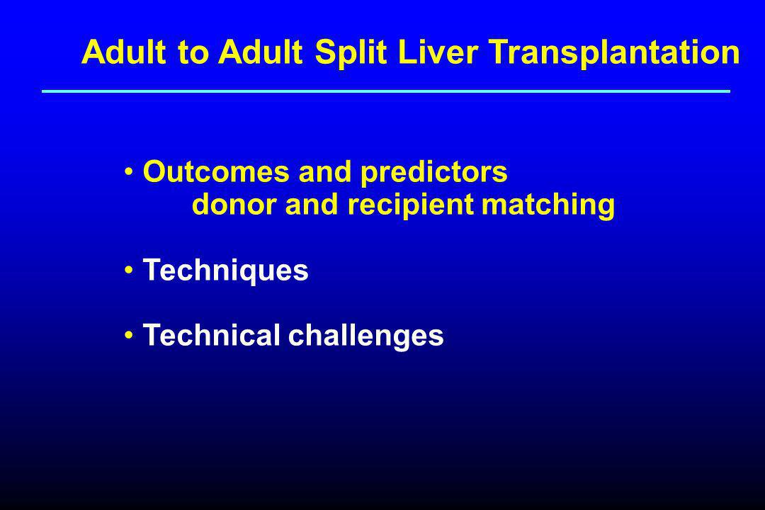Adult to Adult Split Liver Transplantation Outcomes and predictors donor and recipient matching Techniques Technical challenges