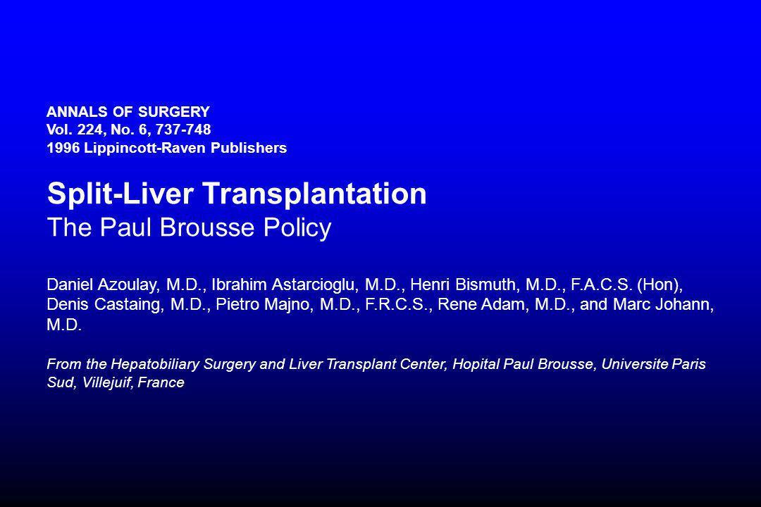 ANNALS OF SURGERY Vol. 224, No. 6, 737-748 1996 Lippincott-Raven Publishers Split-Liver Transplantation The Paul Brousse Policy Daniel Azoulay, M.D.,