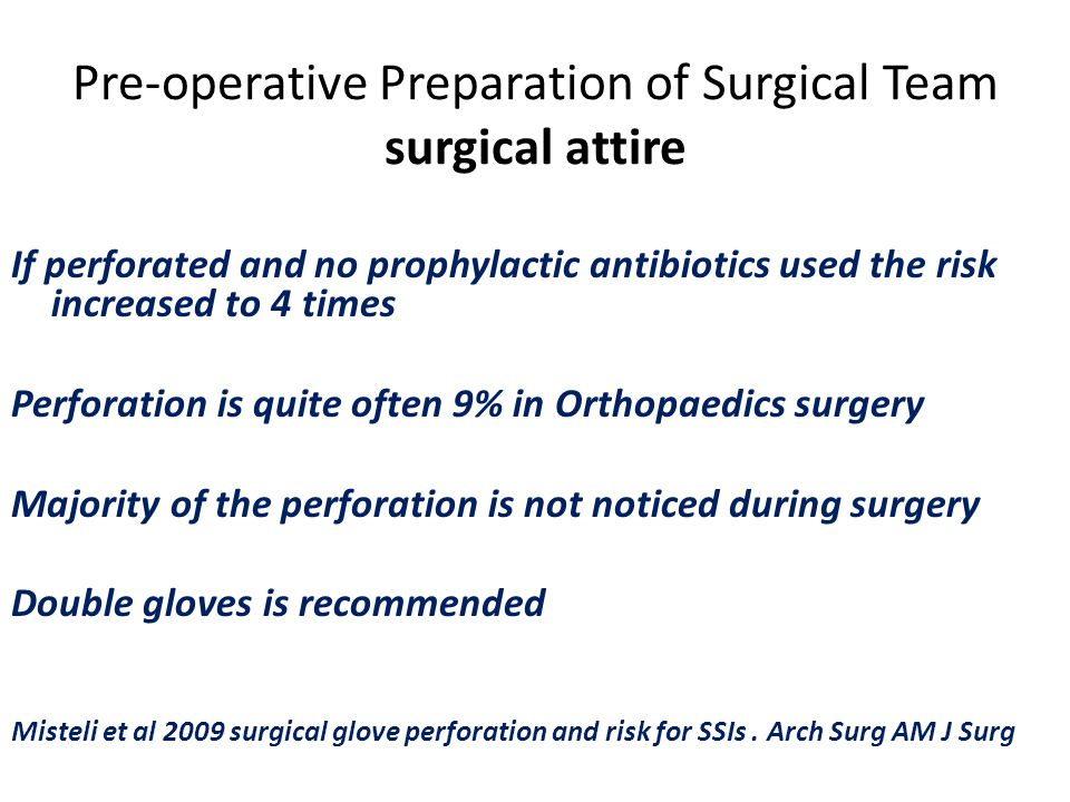 Pre-operative Preparation of Surgical Team surgical attire If perforated and no prophylactic antibiotics used the risk increased to 4 times Perforatio