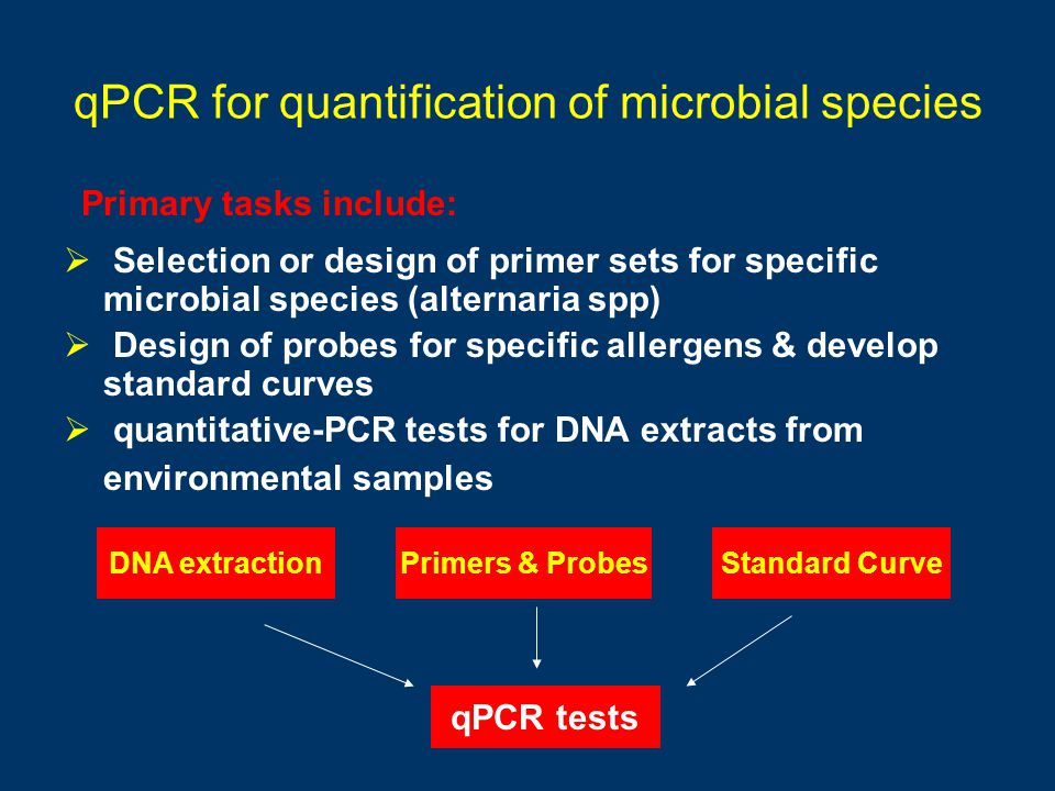 qPCR for quantification of microbial species Selection or design of primer sets for specific microbial species (alternaria spp) Design of probes for s