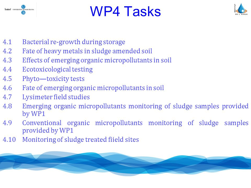 WP4 Tasks 4.1Bacterial re-growth during storage 4.2Fate of heavy metals in sludge amended soil 4.3Effects of emerging organic micropollutants in soil 4.4Ecotoxicological testing 4.5Phytotoxicity tests 4.6Fate of emerging organic micropollutants in soil 4.7Lysimeter field studies 4.8Emerging organic micropollutants monitoring of sludge samples provided by WP1 4.9Conventional organic micropollutants monitoring of sludge samples provided by WP1 4.10Monitoring of sludge treated fiield sites