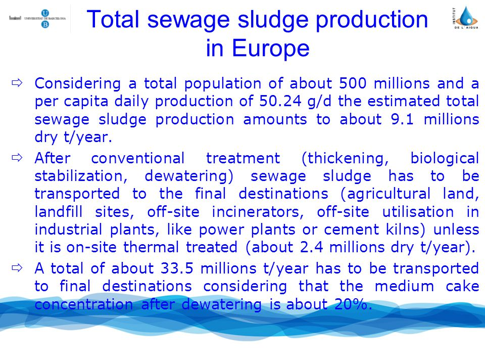Total sewage sludge production in Europe Considering a total population of about 500 millions and a per capita daily production of 50.24 g/d the estimated total sewage sludge production amounts to about 9.1 millions dry t/year.