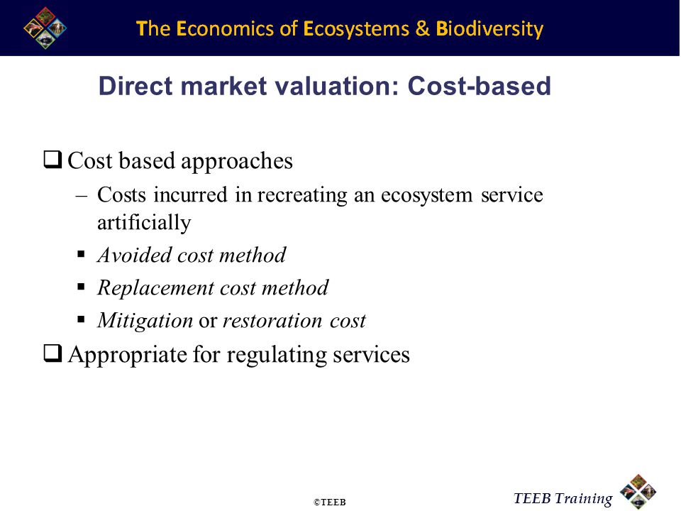TEEB Training Direct market valuation: Cost-based Cost based approaches –Costs incurred in recreating an ecosystem service artificially Avoided cost m
