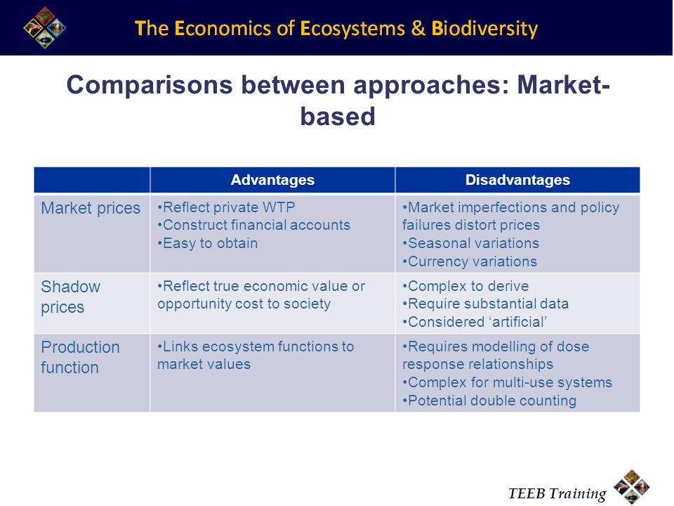 TEEB Training Comparisons between approaches: Market- based AdvantagesDisadvantages Market prices Reflect private WTP Construct financial accounts Eas