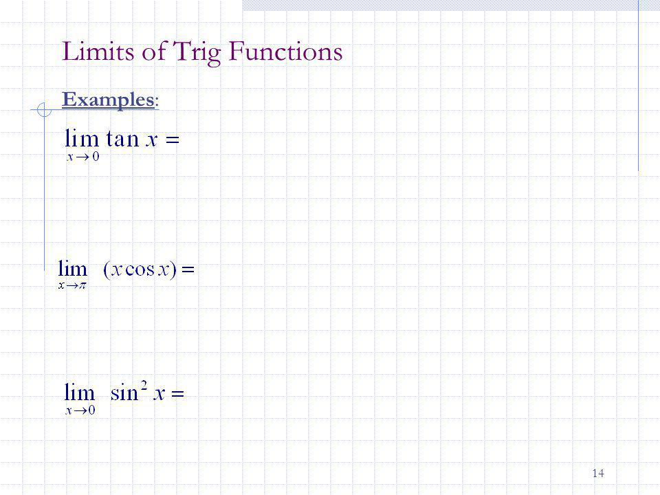 14 Limits of Trig Functions Examples: