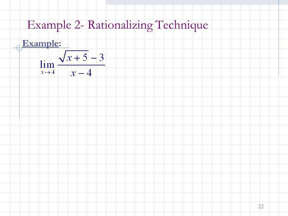 22 Example 2- Rationalizing Technique Example: