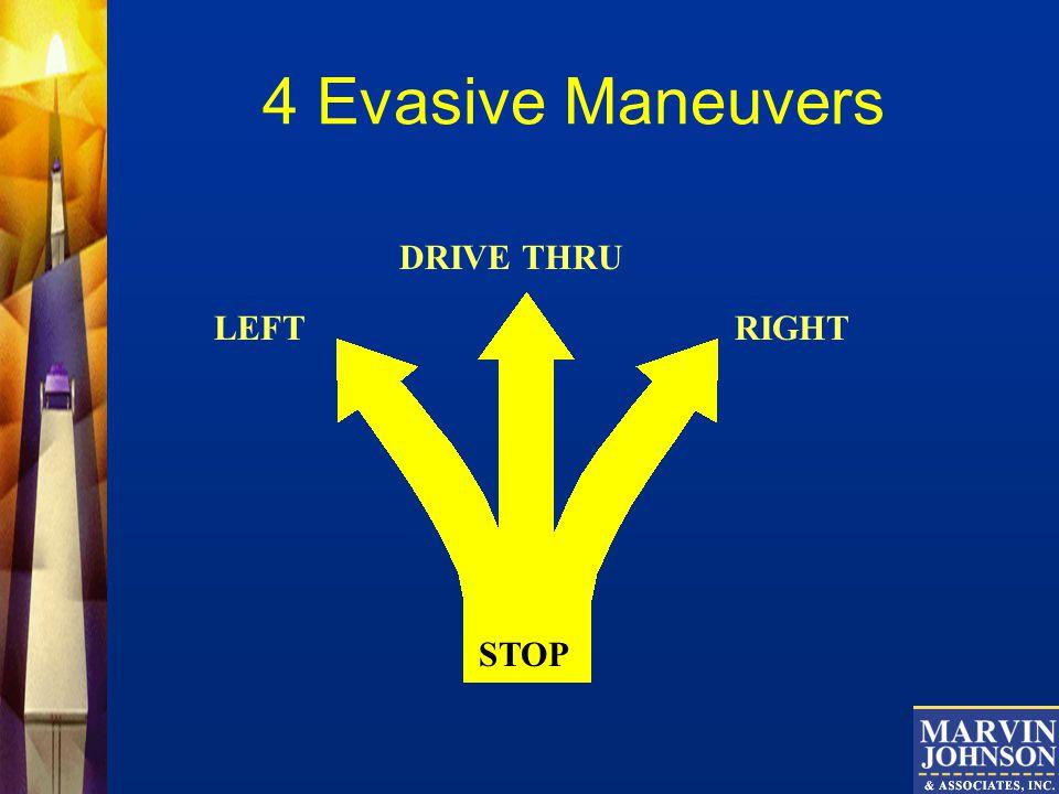 4 Evasive Maneuvers STOP RIGHTLEFT DRIVE THRU