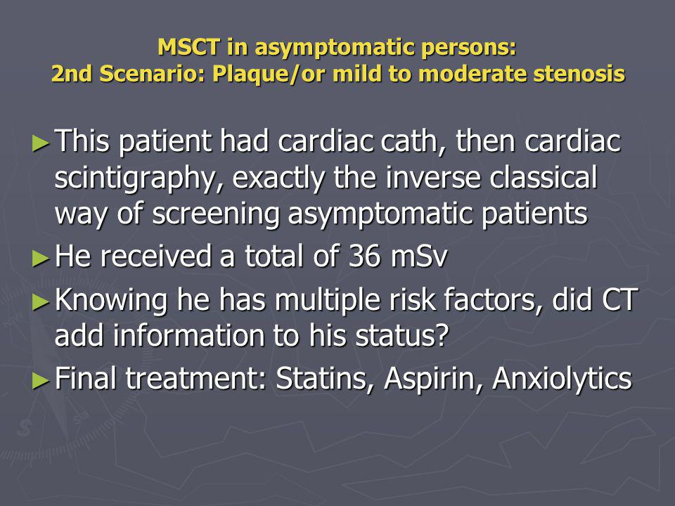 Effective radiation dose from various coronary diagnostic studies Cardiac Cath = 5-6 mSv.