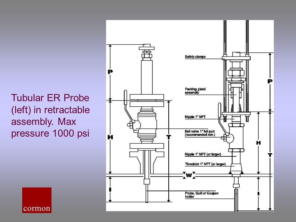 Tubular ER Probe (left) in retractable assembly. Max pressure 1000 psi