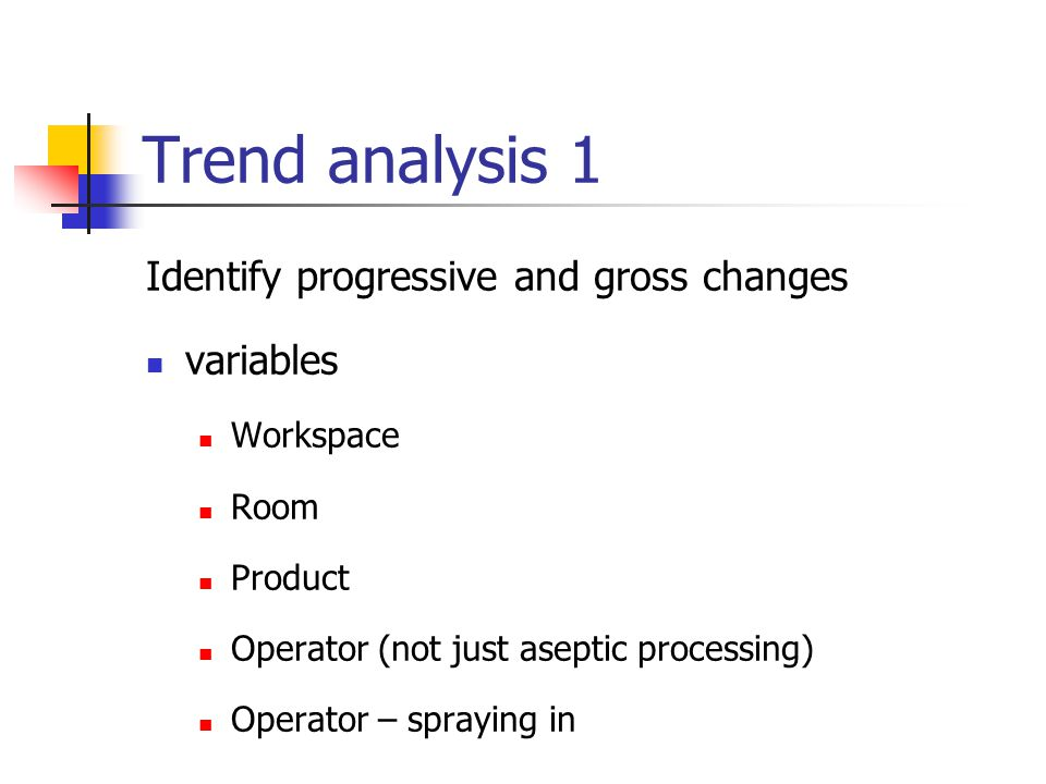 Trend analysis 1 Identify progressive and gross changes variables Workspace Room Product Operator (not just aseptic processing) Operator – spraying in