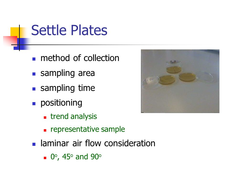 Settle Plates method of collection sampling area sampling time positioning trend analysis representative sample laminar air flow consideration 0 o, 45 o and 90 o
