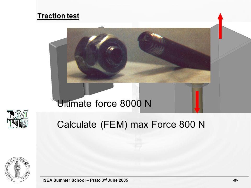 ISEA Summer School – Prato 3 rd June 2005 # Traction test Ultimate force 8000 N Calculate (FEM) max Force 800 N