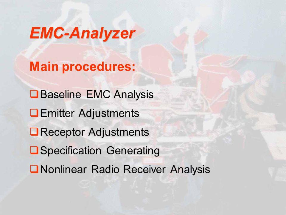 Baseline EMC Analysis Emitter Adjustments Receptor Adjustments Specification Generating Nonlinear Radio Receiver Analysis EMC-Analyzer Main procedures: