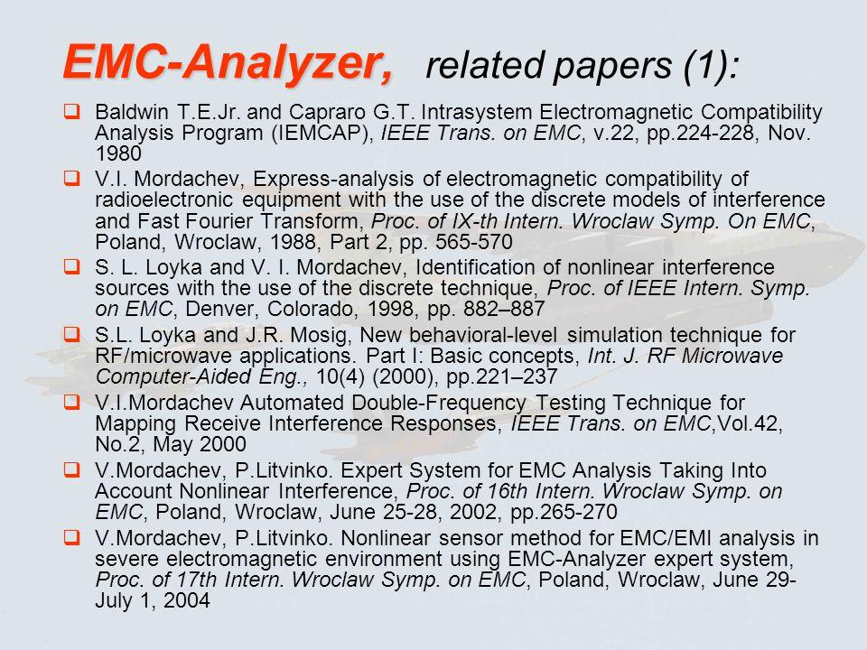 EMC-Analyzer, EMC-Analyzer, related papers (1): Baldwin T.E.Jr.