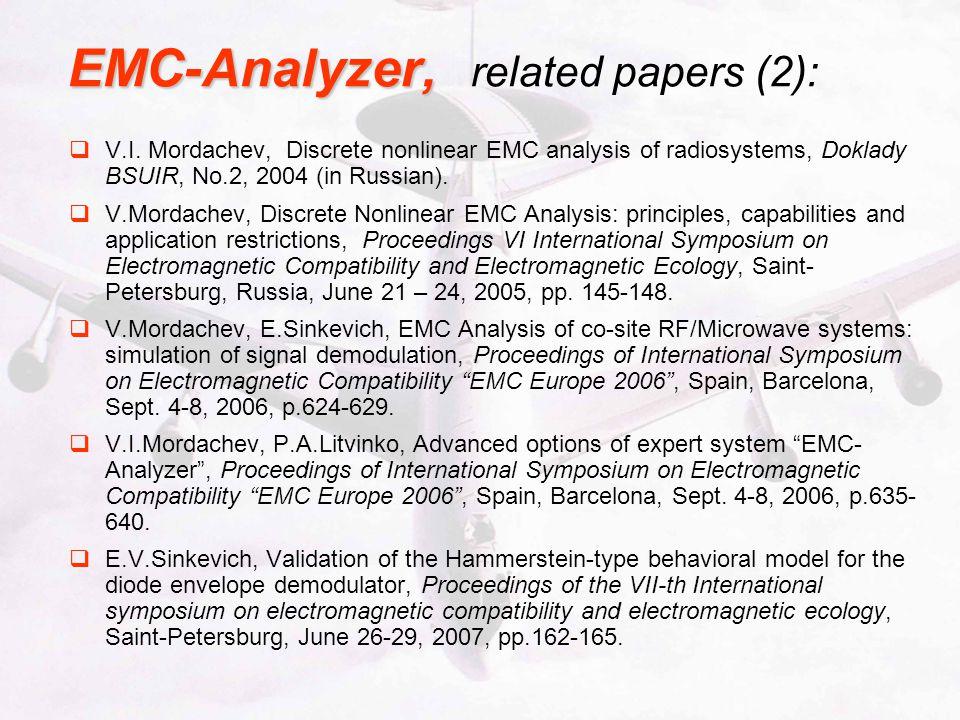 EMC-Analyzer, EMC-Analyzer, related papers (2): V.I.