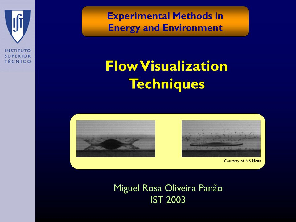 Flow Visualization Techniques Experimental Methods in Energy and Environment Miguel Rosa Oliveira Panão IST 2003 Courtesy of A.S.Moita