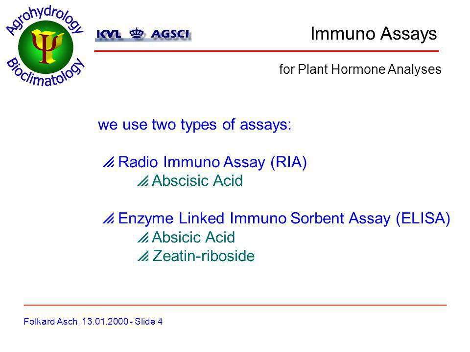 Immuno Assays Folkard Asch, 13.01.2000 - Slide 5 for Plant Hormone Analyses RIA RIA combines a specific immuno reaction with the sensitivity of radio-isotope techniques.
