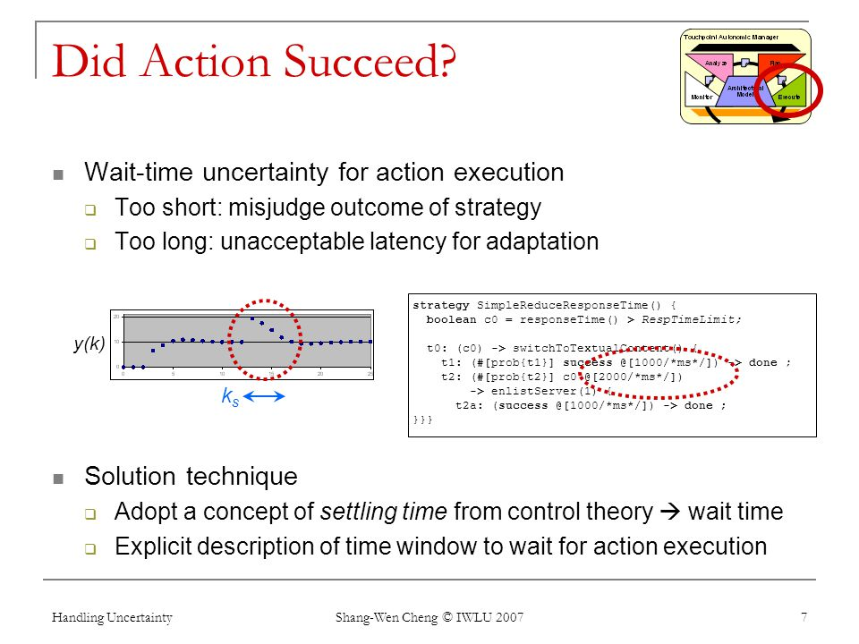 Handling Uncertainty Shang-Wen Cheng © IWLU 2007 7 Did Action Succeed? Wait-time uncertainty for action execution Too short: misjudge outcome of strat